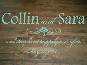 Wall Decal Quote Elegant Decal Wedding Dance Floor Bride and Groom Names and Wedding Date XL Large Decal Wall Sticker Wall Transfer
