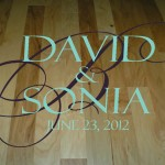 Wedding Dance Floor with Script Monogram, Bride and Groom Names, and Wedding Date