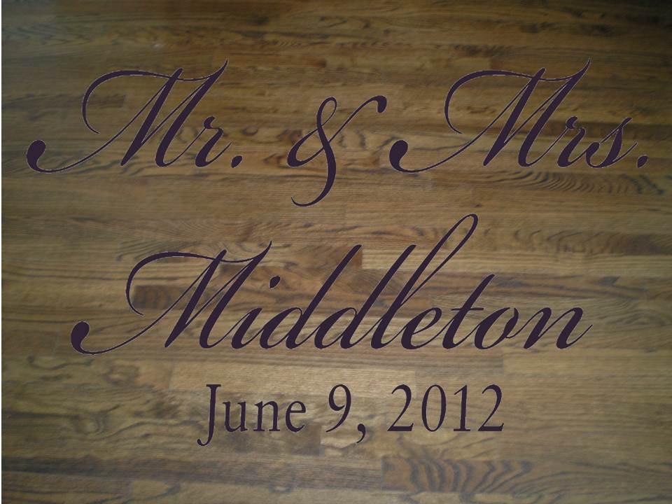 Elegant Script Mr And Mrs Wedding Dance Floor Decal