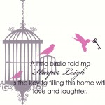 Nursery Room Bird Cage Wall Decal with 3 Birds and Skeleton Key with Name and Quote Wall Decal Wall Sticker Wall Tattoo Wall Transfer