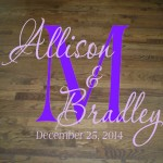 Wedding Dance Floor Decal with Script Monogram, Bride and Groom Names, and Wedding Date