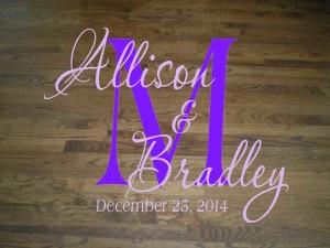 Wall Decal Quote Floor Decal Wedding Dance Floor Elegant Script Monogram, Bride and Groom Names, and Wedding Date