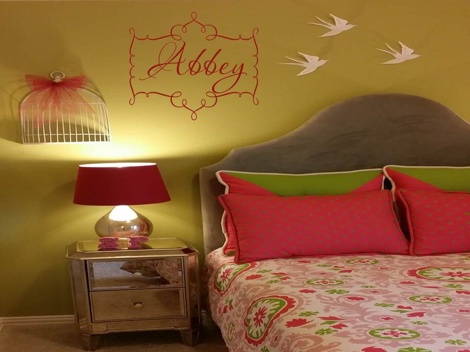 Elegant Script Name and Scallop Frame Wall Decal Wall Words Wall Art ...