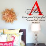 Every Good and Perfect Gift Comes from Above with Name and Monogram Wall Decal