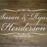 Wedding Dance Floor with Beautiful Script Bride and Groom Names and Last Name with Wedding Date
