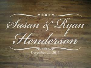 Wall Decal Quote Floor Decal Wedding Dance Floor Elegant Script Bride and Groom Names and Last Name with Wedding Date